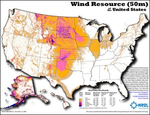 Wind resources in the US (US-DOE; click image to go to source).