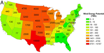 Annual onshore wind energy potential on a state-by-state basis for the contiguous U.S. expressed in TWh (Lu et al. 2009; click image to go to source).